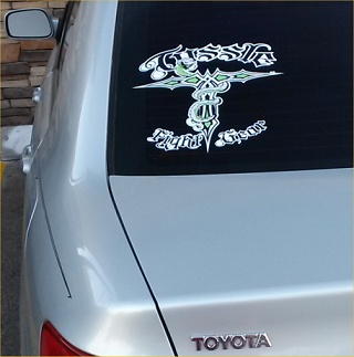 tussle sticker on car