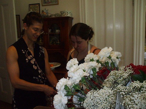 cutting flowers at dale's