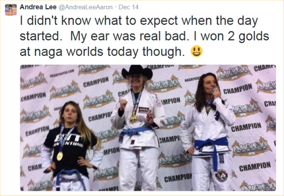andrea lee on podium