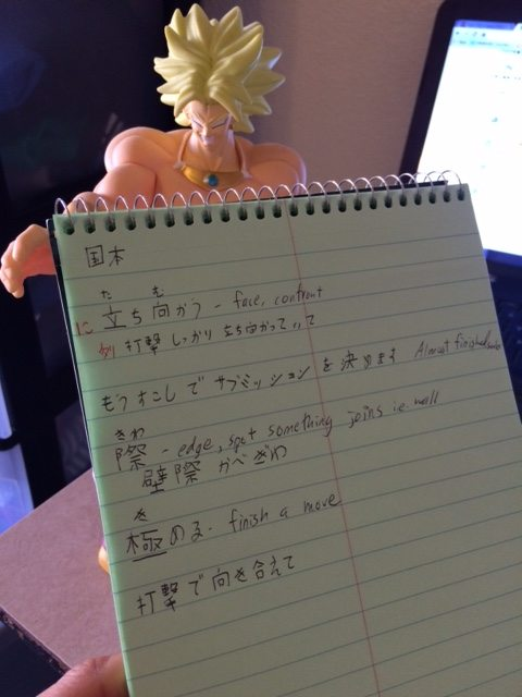 pic of notebook studying japanese