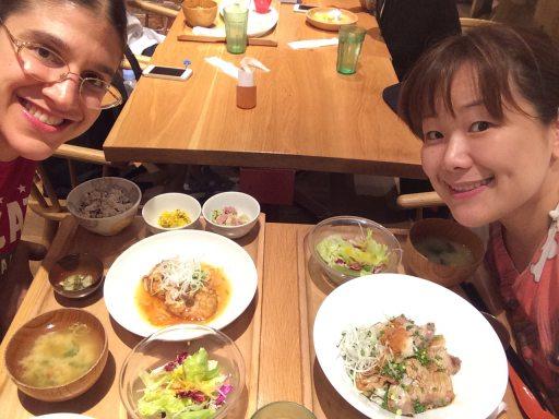 roxy and mizuho at restaurant